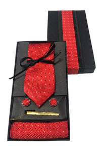POPIN NECKTIE WITH MATCHING CUFFLINK AND POCKET SQUARE SET / COMBO WITH TIE PIN FOR MEN'S ACCESSORIES FOR BLAZER , SUIT AND TUXEDO