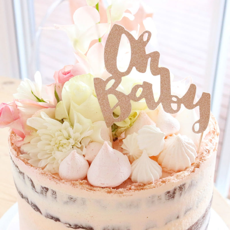 Oh Baby Rose Gold Glitter Cake Topper - 1 Pce