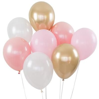 Balloon Bouquet - Pack of 8 - Pink  & Gold