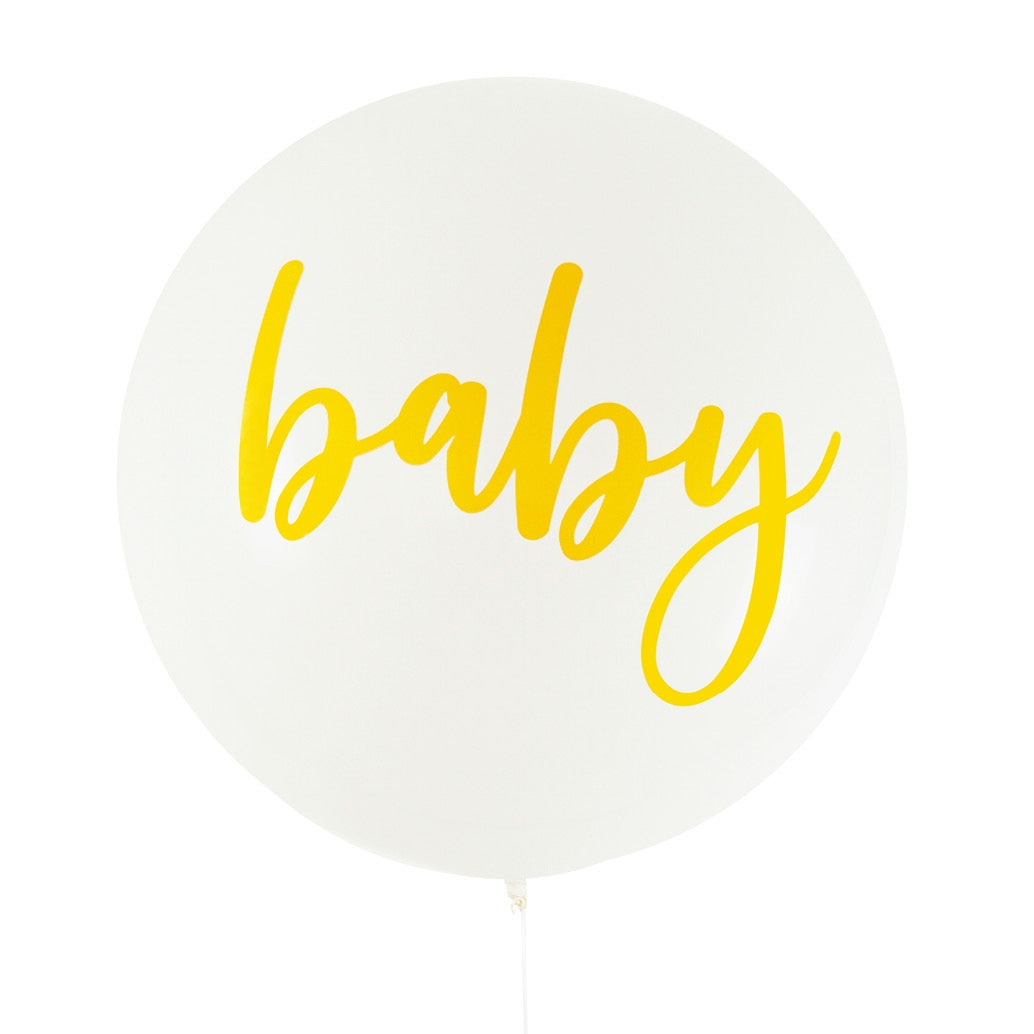 Balloon Jumbo Round Printed Baby - White With 金Print