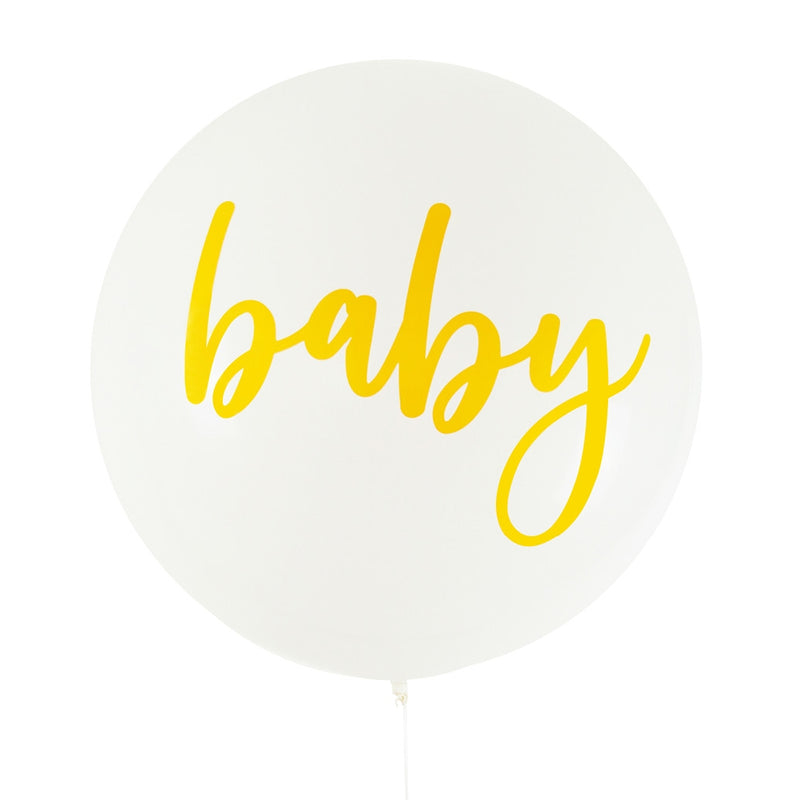 Balloon Jumbo Round Printed Baby - White With Gold Print