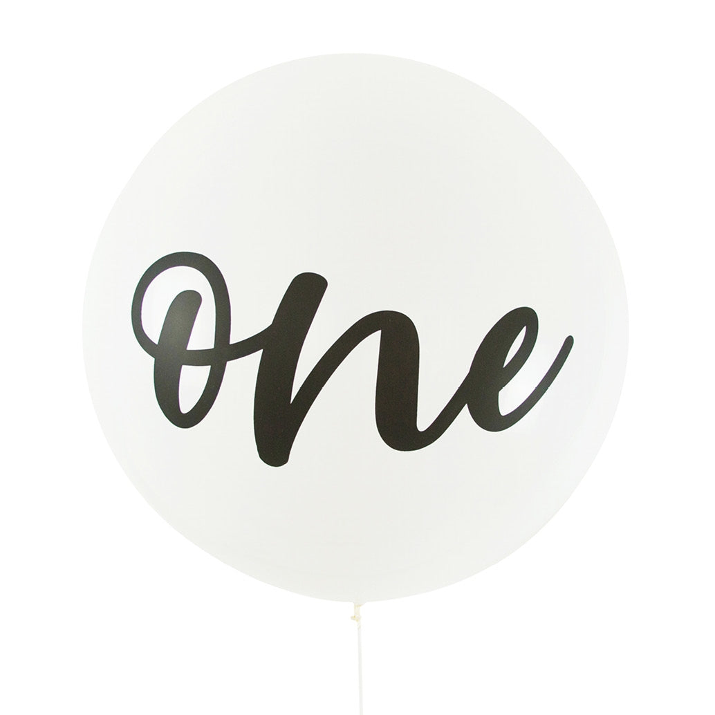 Balloon Jumbo Round Printed One - White With Black Print