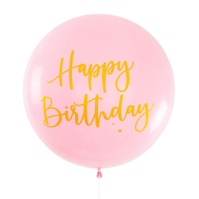 Balloon Jumbo Round Printed Happy Birthday - Pink With Gold Print