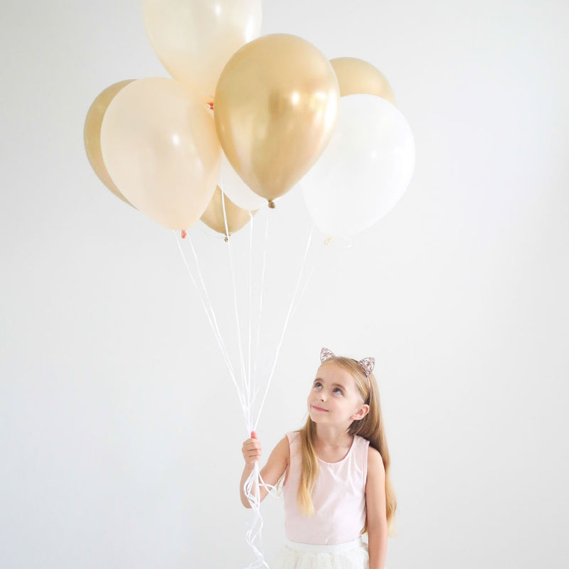 Balloon Bouquet - Pack of 8 - 金& White