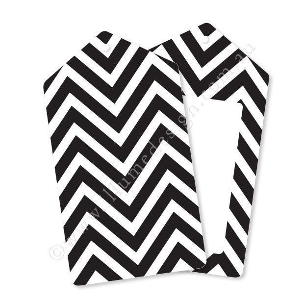 Chevron Black - Tag - Pack of 12