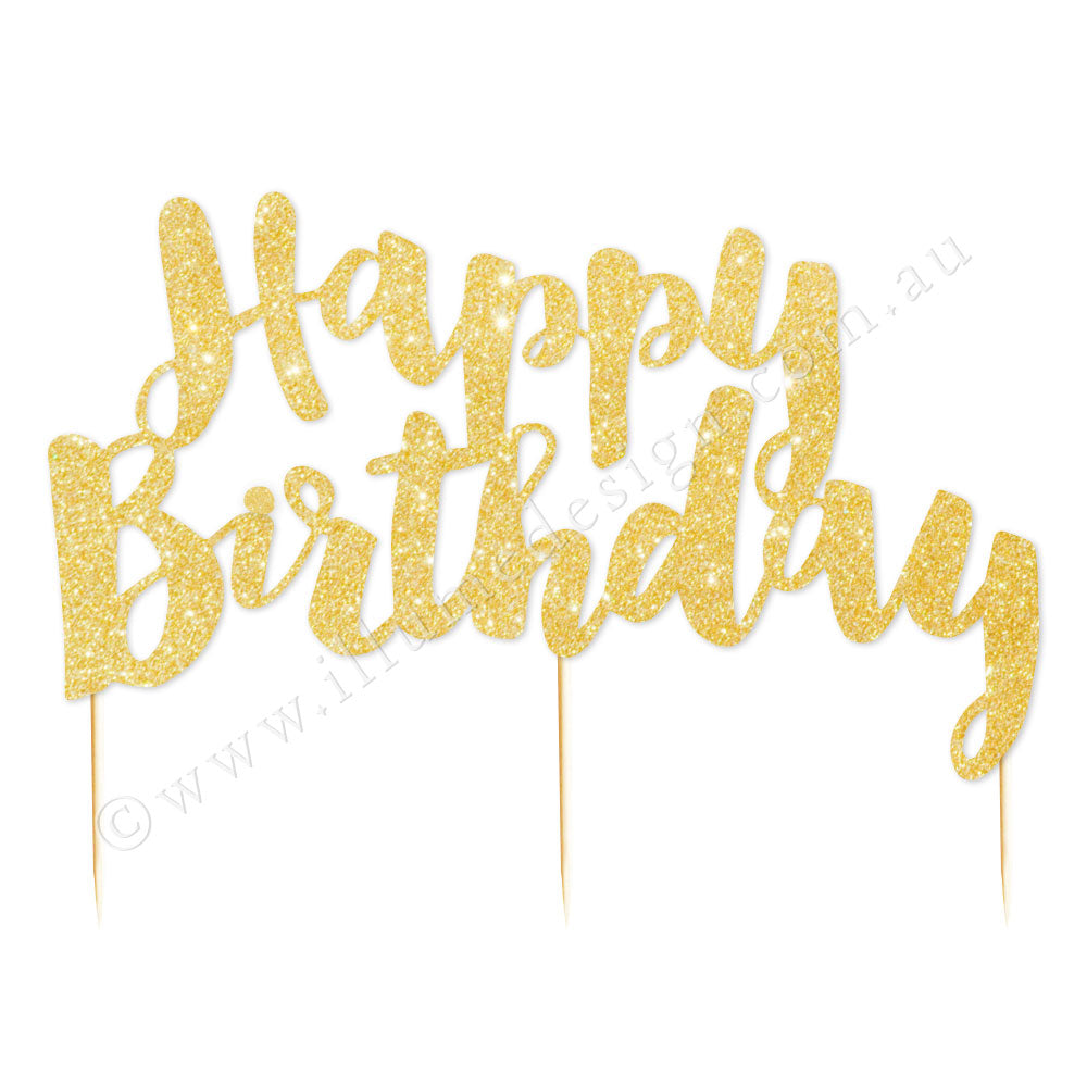 Happy Birthday Gold Glitter Cake Topper - 1 Pce