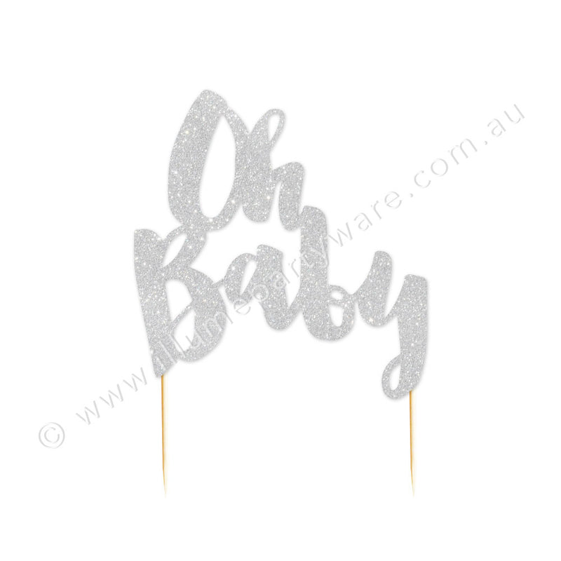 Oh Baby Silver Glitter Cake Topper - 1 Pce