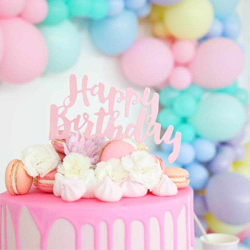 Happy Birthday Pink Foil Cake Topper - 1 Pce