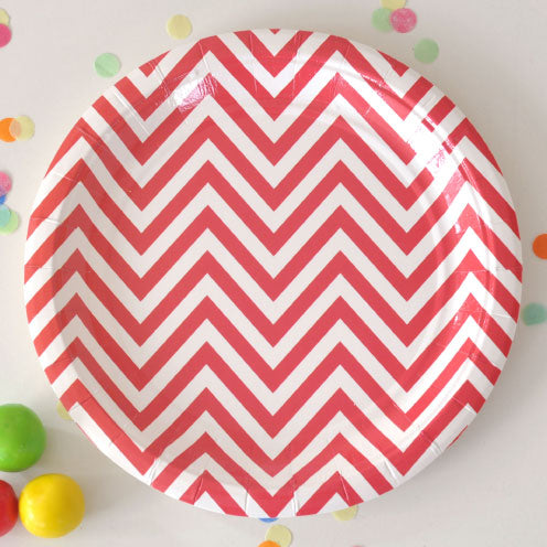 Chevron Red Large Plate - Pack of 12