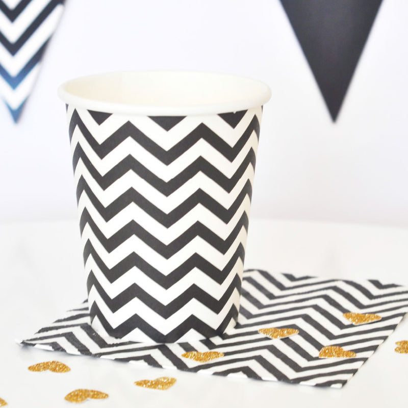 Chevron Black Cup - Pack of 12