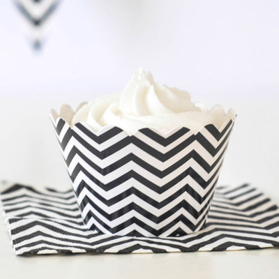 Chevron Black Cupcake Wrapper - Pack of 12