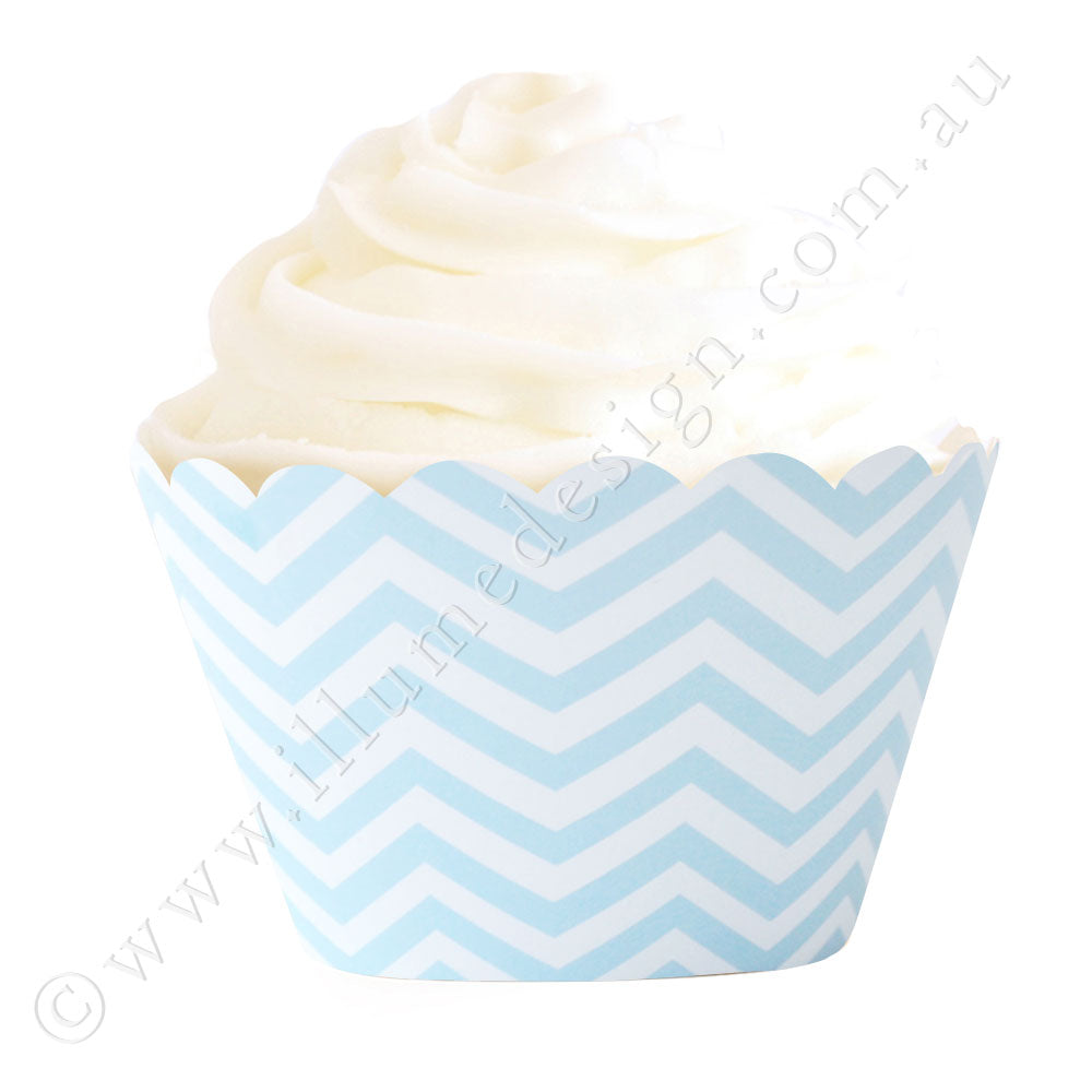 Chevron Blue Cupcake Wrapper - Pack of 12