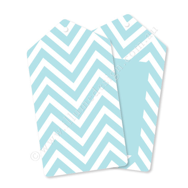 Chevron Blue - Tag - Pack of 12
