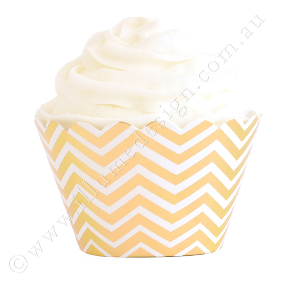 Chevron Gold Cupcake Wrappers- Pack of 12