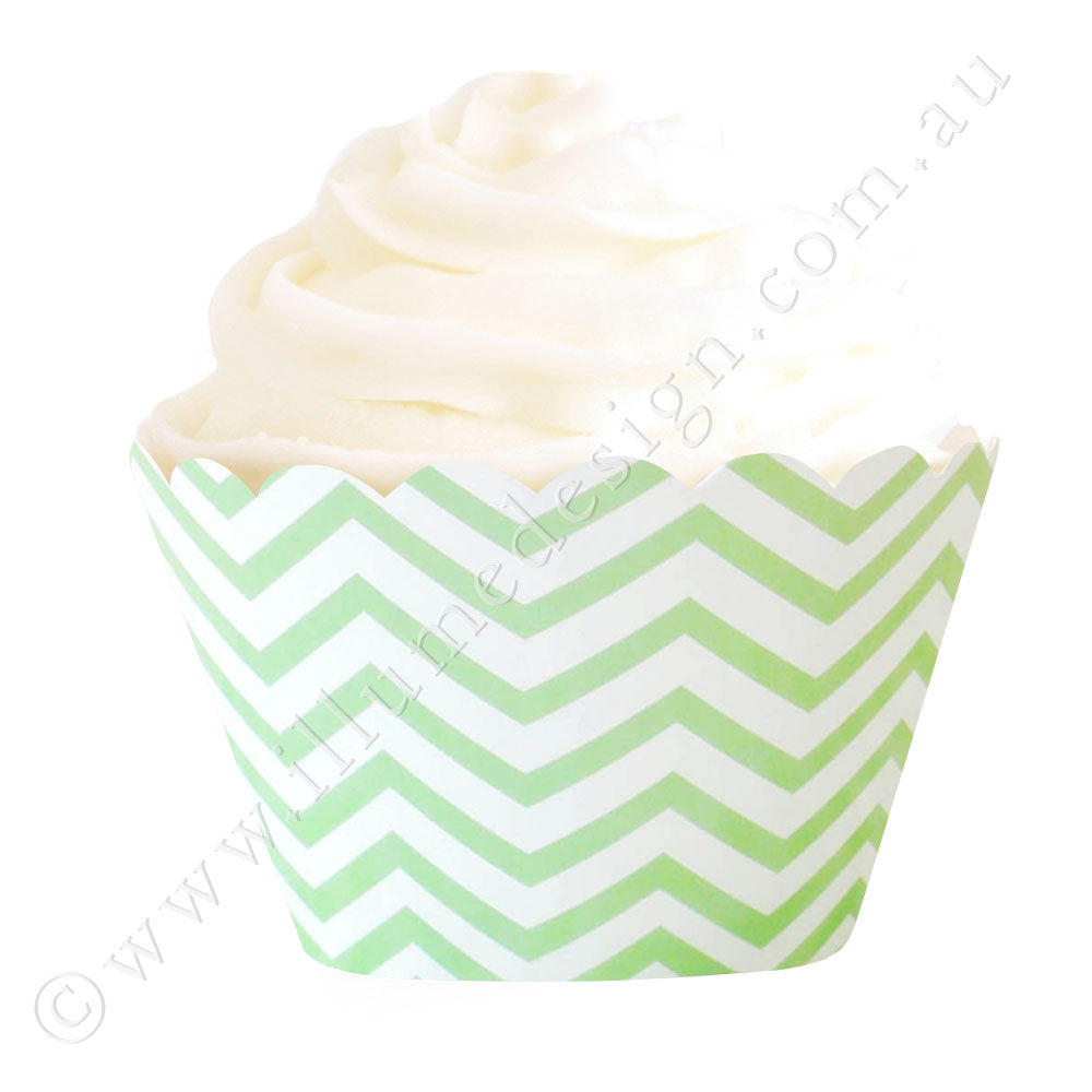 Chevron Green Cupcake Wrapper - Pack of 12