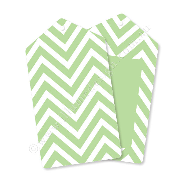 Chevron Green - Tag - Pack of 12
