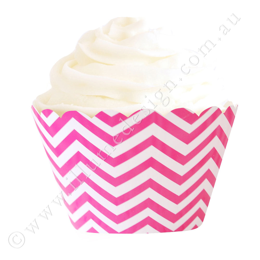 Chevron Hot Pink Cupcake Wrapper - Pack of 12
