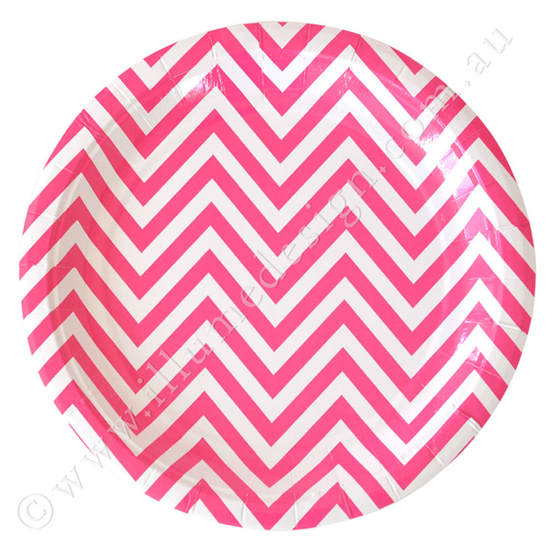 Chevron Hot Pink Large Plate - Pack of 12