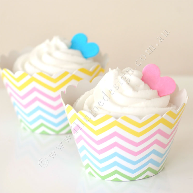 Chevron Pastel Cupcake Wrapper - Pack of 12