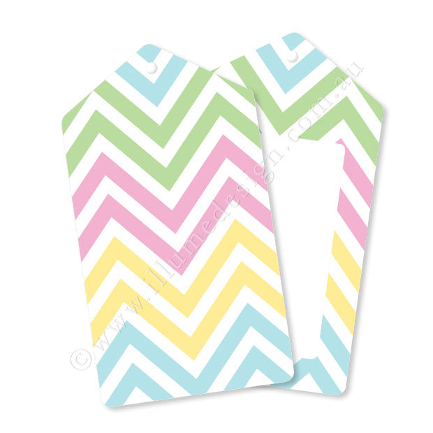 Chevron Pastel Tags- Pack of 12