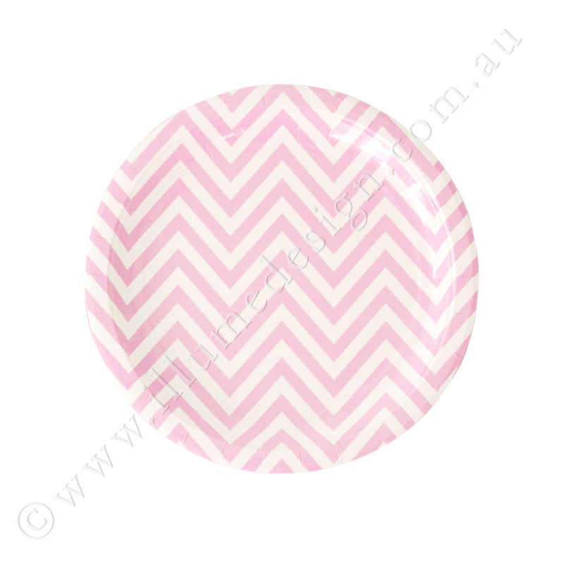 Chevron Pink Dessert Plate - Pack of 12