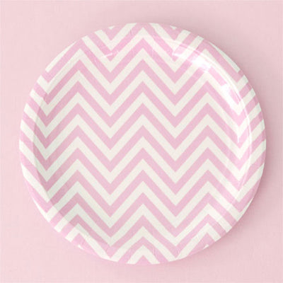 Chevron Pink Large Plate - Pack of 12