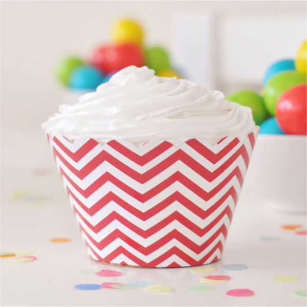 Chevron Red Cupcake Wrapper - Pack of 12