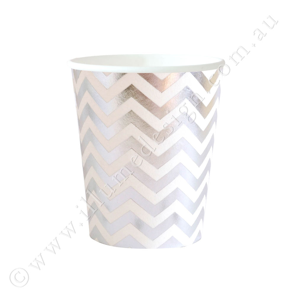 Silver Chevron Cup - Pack of 10