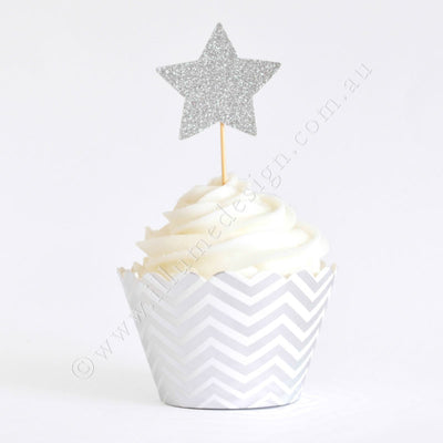 Silver Chevron Cupcake Wrapper - Pack of 12