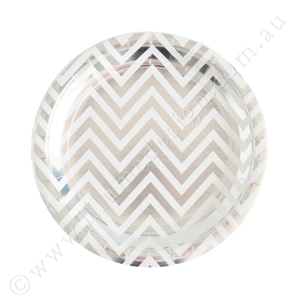 Silver Chevron Dessert Plate -Pack of 10