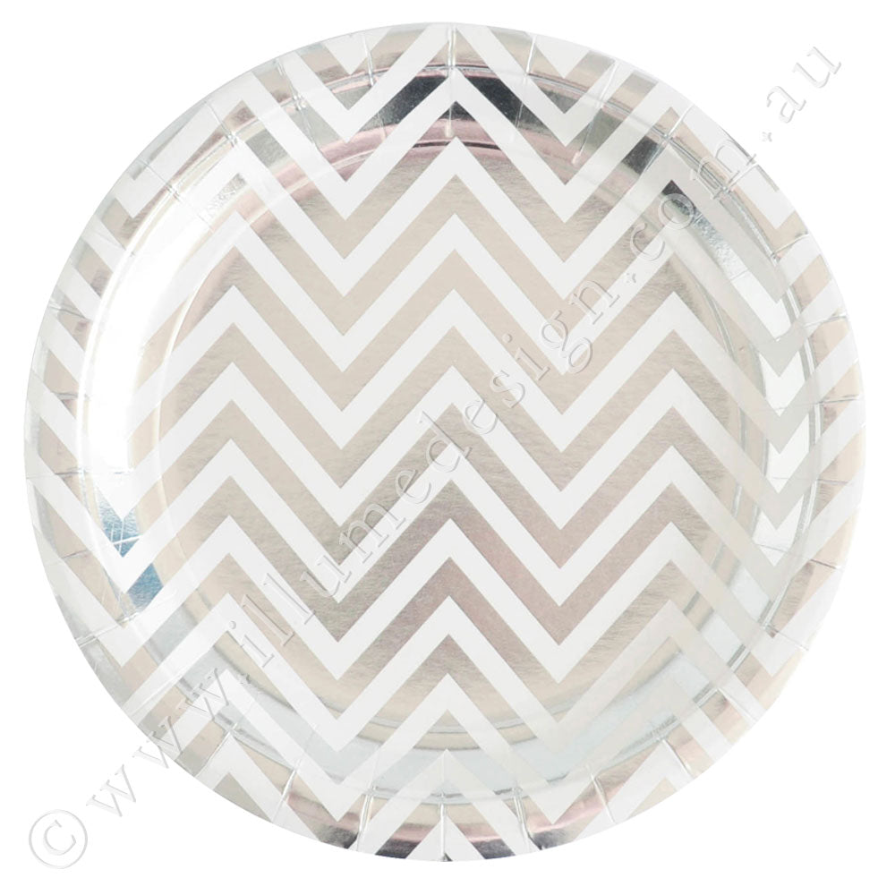 Silver Chevron Large Plate - Pack of 10
