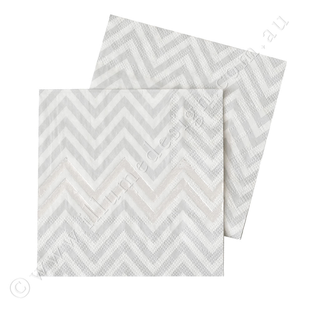 Silver Chevron Napkin - Pack of  20