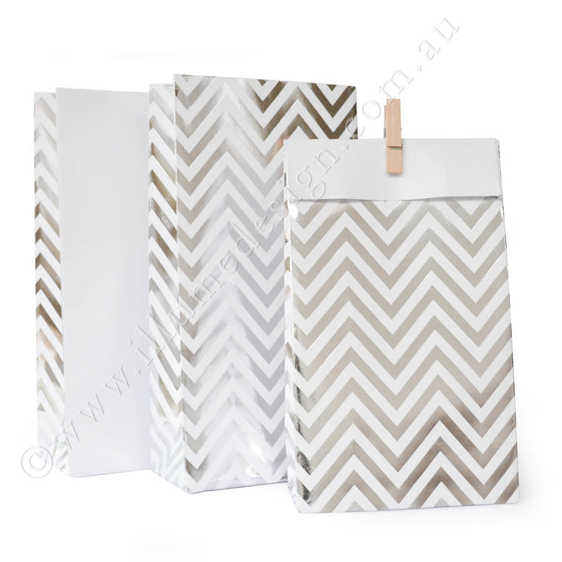 Silver Chevron - Treat Bag - Pack of 12