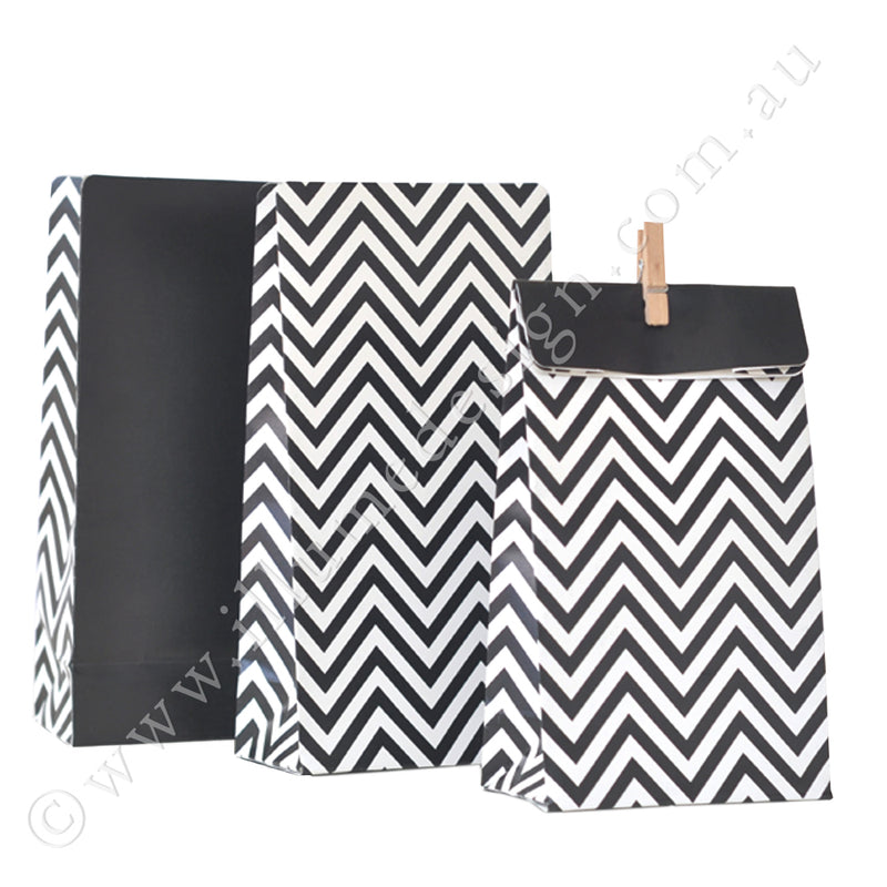 Chevron Black - Treat Bag - Pack of 12