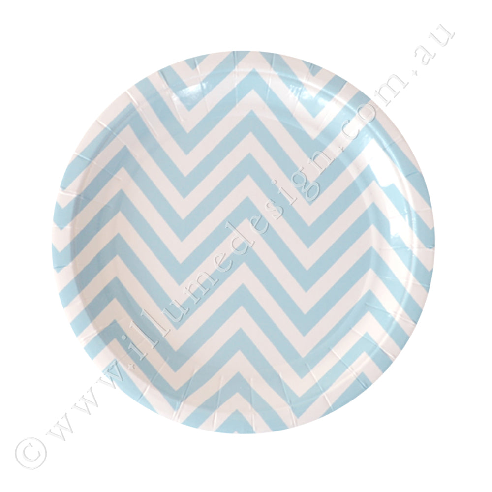 Chevron Blue Dessert Plate - Pack of 10