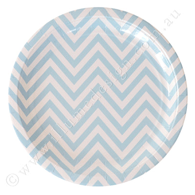 Chevron Blue Large Plate - Pack of 12