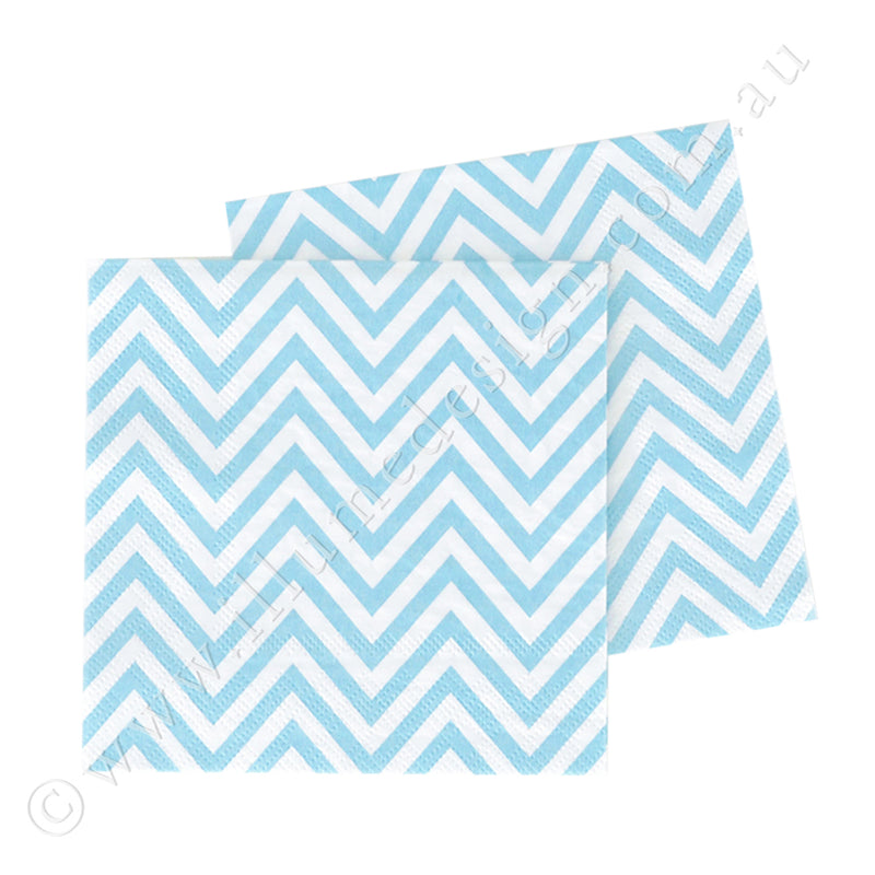 Chevron Blue Napkin - Pack of  20