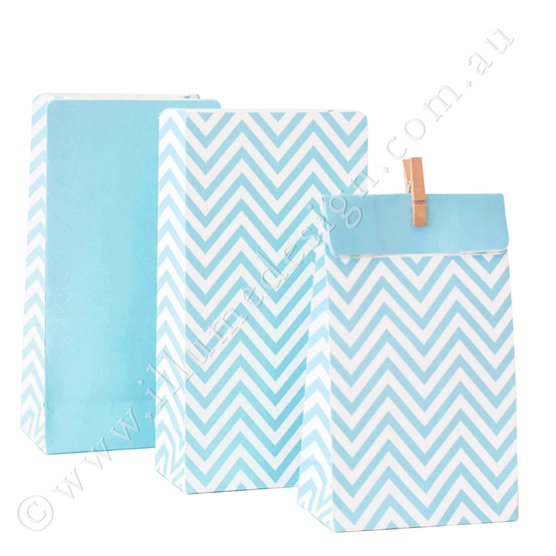 Chevron Blue - Treat Bag - Pack of 12