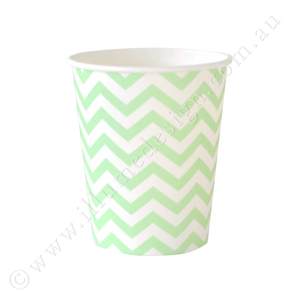 Chevron Green Cup - Pack of 12