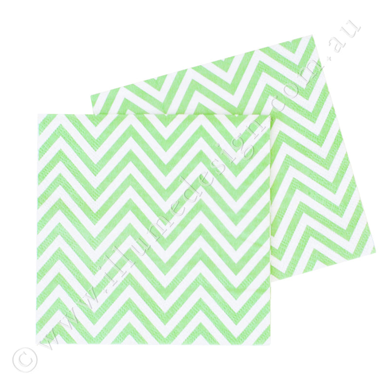 Chevron Green Napkin - Pack of 20