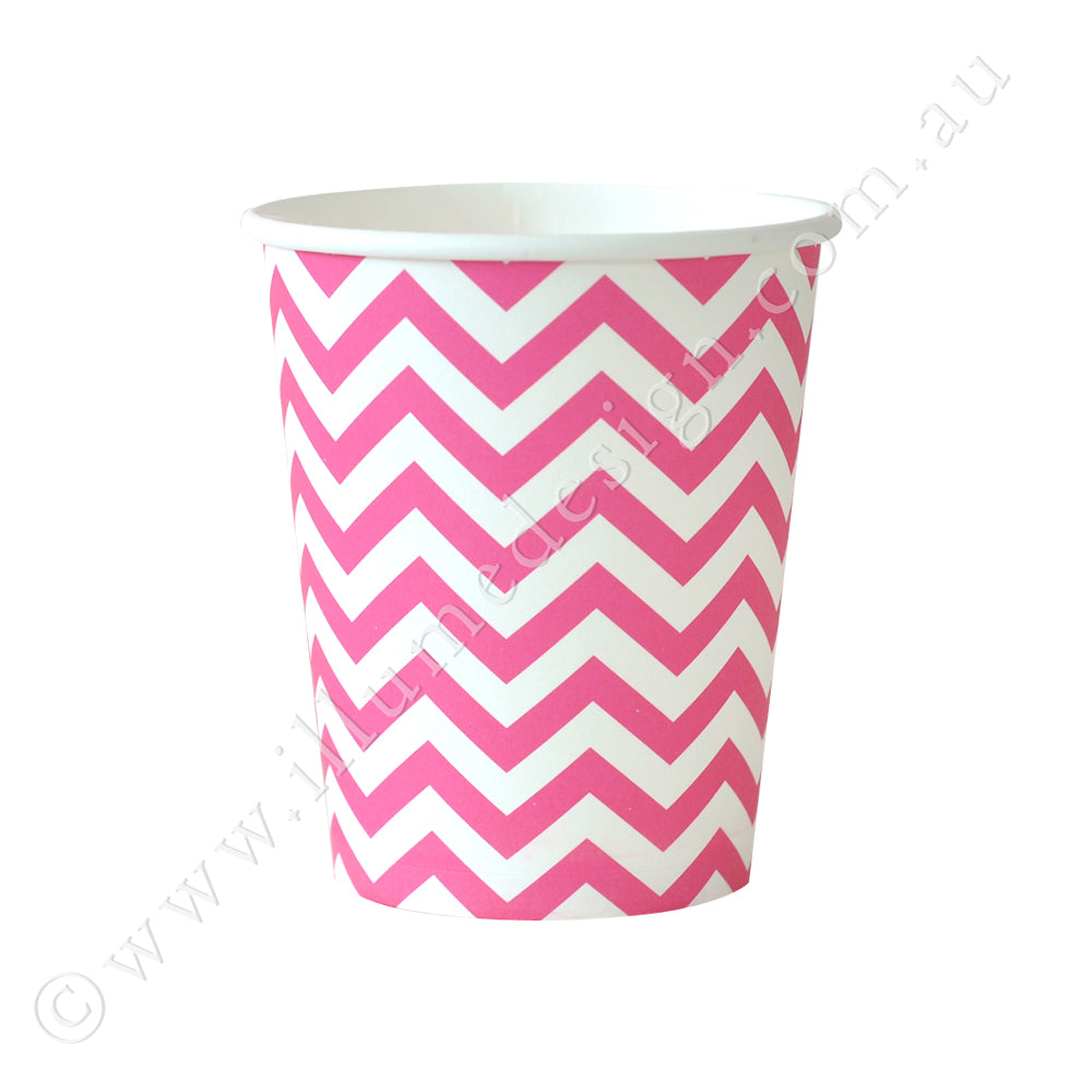 Chevron Hot Pink Cup - Pack of 12
