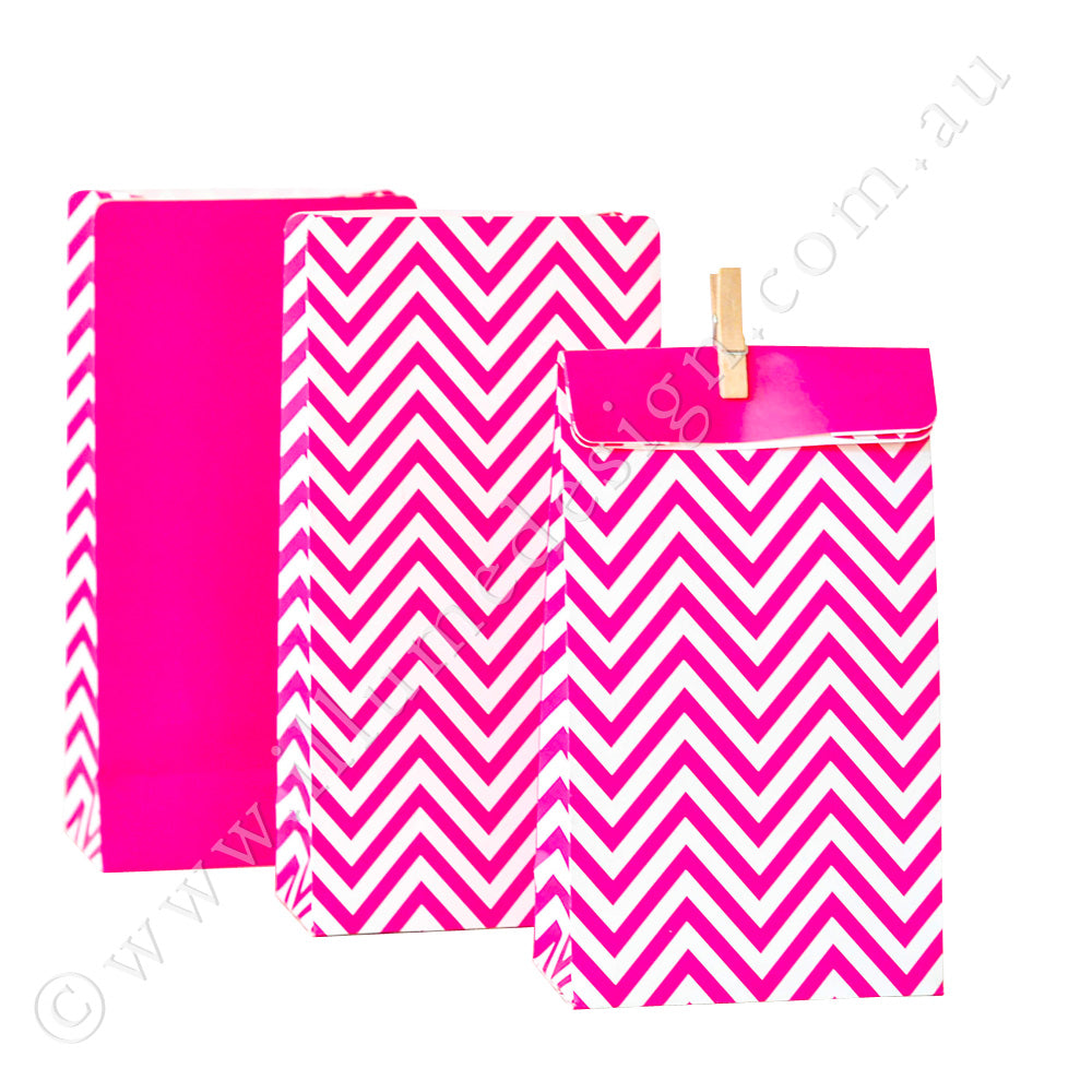 Chevron Hot Pink - Treat Bag - Pack of 12