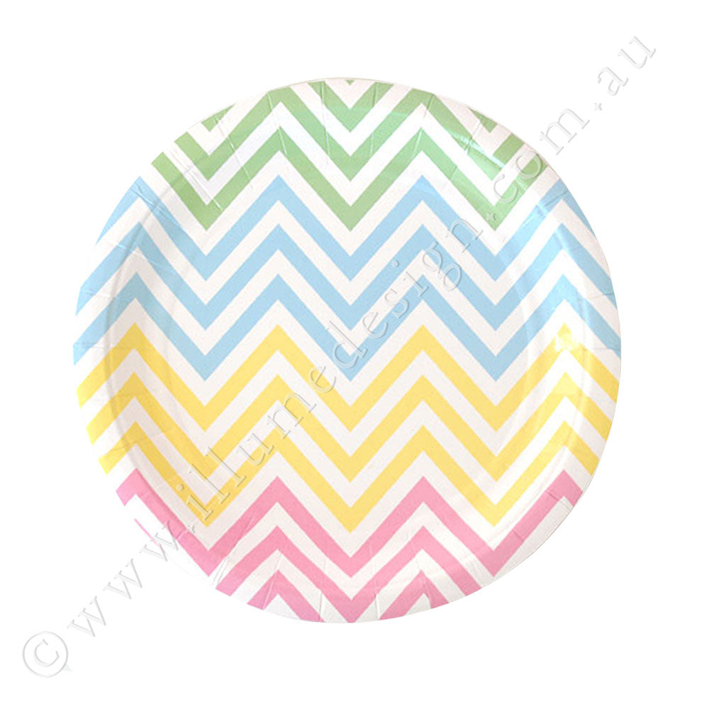 Chevron Pastel Dessert Plate -Pack of 12