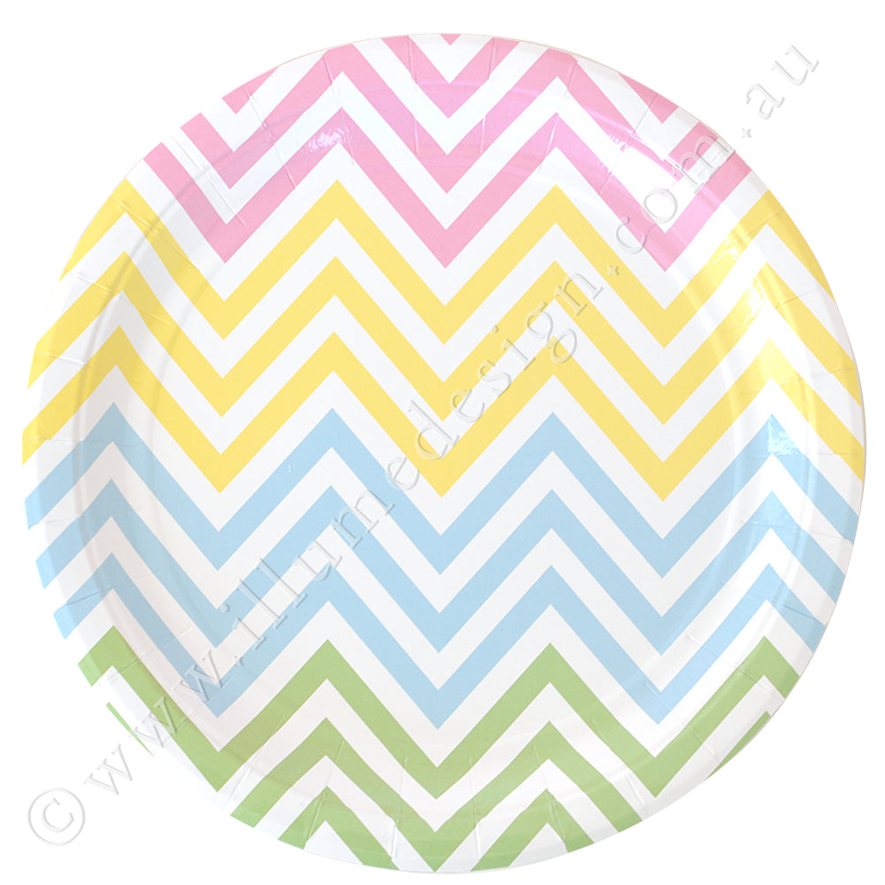 Chevron Pastel Large Plate - Pack of 12