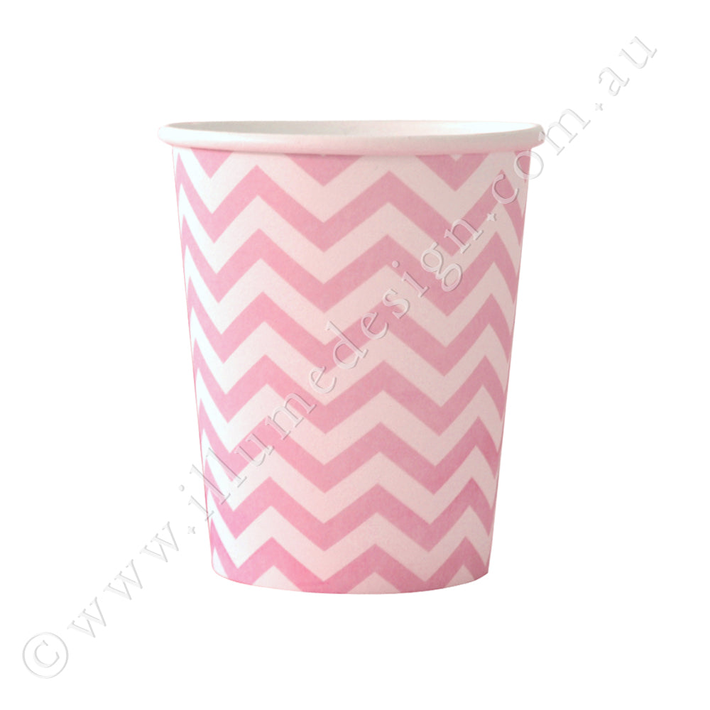 Chevron Pink Cup - Pack of 12