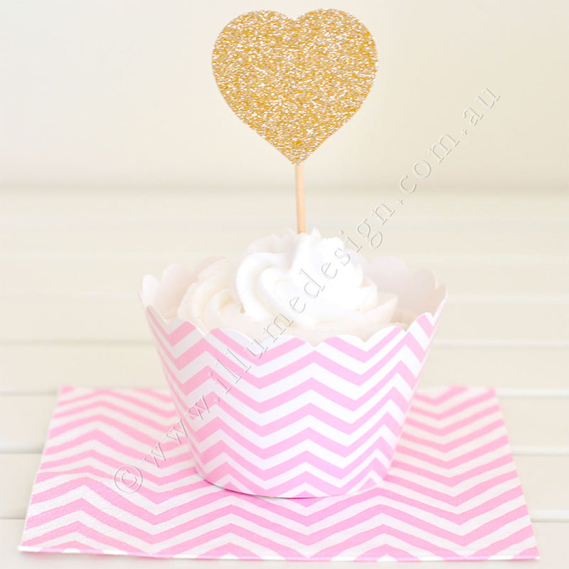 Chevron 粉Cupcake Wrapper - Pack of 12
