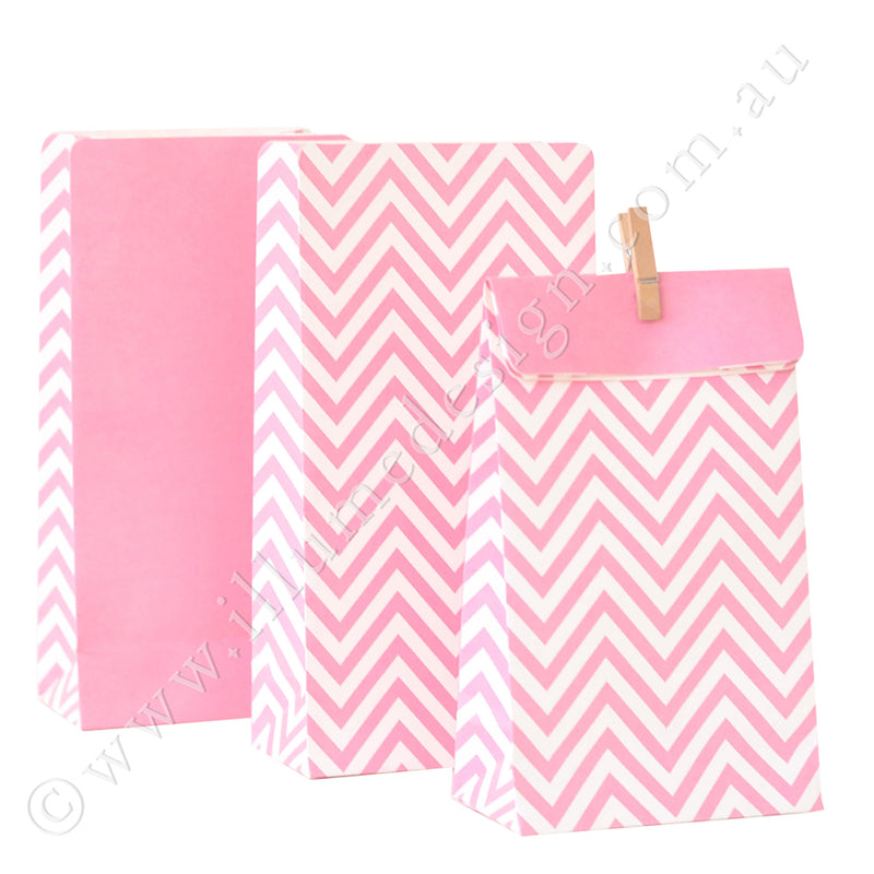 Chevron Pink - Treat Bag - Pack of 12