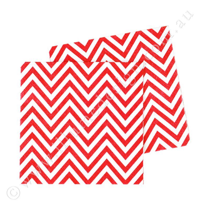 Chevron Red  Napkin - Pack of  20