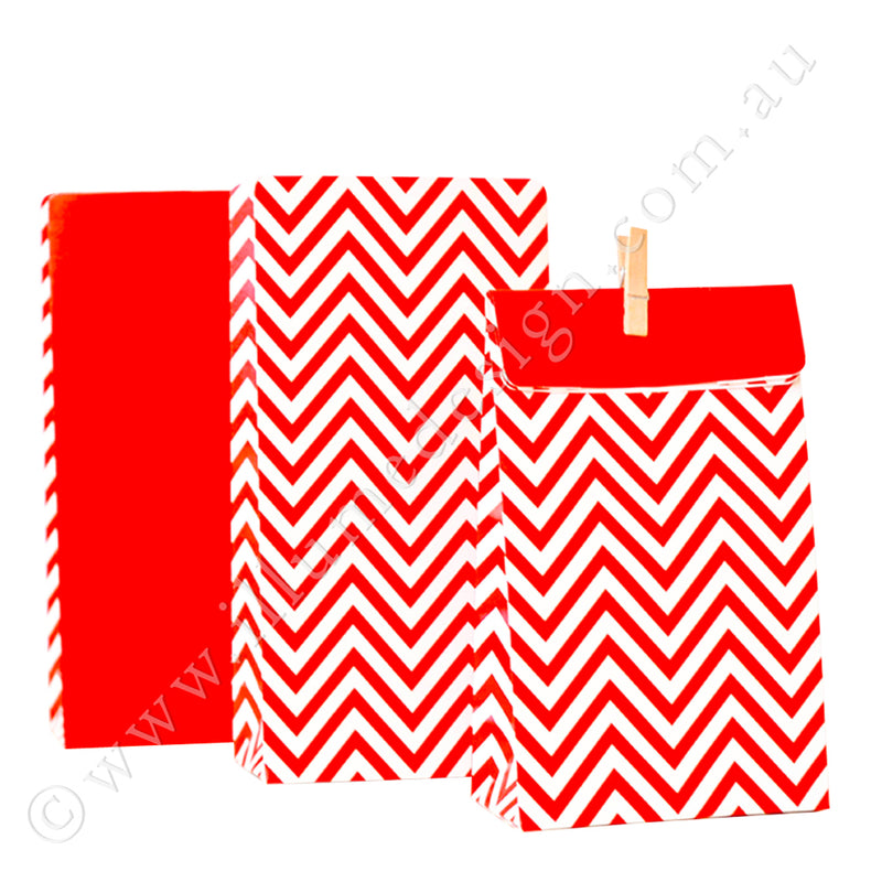 Chevron Red - Treat Bag - Pack of 12