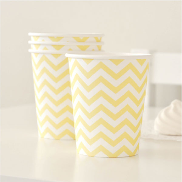 Chevron Yellow Cup - Pack of 12